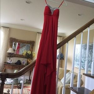 Red Faviana gown size 0. Orig price $330